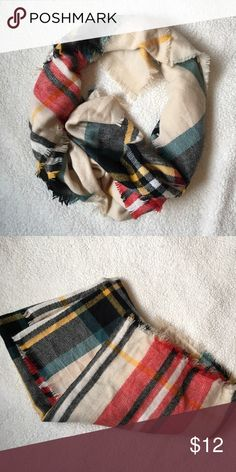 Plaid Blanket Scarf Super pretty blanket scarf in cream, red, blue, green, black, yellow and white plaid. Accessories Scarves & Wraps