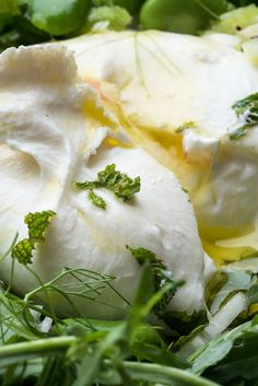 NYT Cooking: Good fresh burrata — mozzarella's luscious, creamy-centered cousin — really needs no adornment, just good bread to accompany it (and perhaps a drizzle of olive oil and few arugula leaves). To make it more festive, add a quickly made seasonal vegetable topping and serve the gilded burrata as a salad or antipasto. Bright green fava beans, celery and fennel make a lovely re...