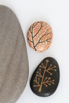 ON SALE Hand Painted Stones Set of 2 by EchidnaArtandCards on Etsy