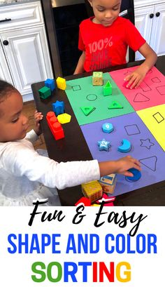 Toddler Learning Activities that involve shapes are an absolute must. Easy toddler activities that include colors are awesome as well. This sorting activity combines the two! Activities For 2 Year Olds, Toddler Learning Activities, Sorting Activities, Motor Activities, Educational Activities, Kids Learning, Shape Activities, Autism Activities, Early Learning