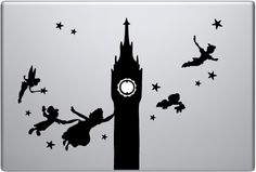 My favorite part of browsing laptop decals is seeing how artists integrate the Apple into their designs. This decal does it BRILLIANTLY. By obscuring the apple's shape, it creates a new context for the back-light. What was once an advertising icon is now the illuminated face of Big Ben. This clever repurposing also adds a subtle 'nighttime' effect to the image, transforming a bunch of black, character cut-outs n2 a set of haunting silhouettes soaring across a grey night sky.  P.P. decal - $9