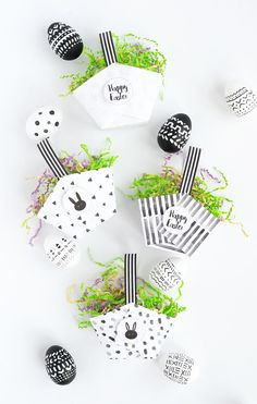 Black and white Easter printables.