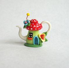 Miniature Whimsical Fairy Toadstool House Teapot by ArtisticSpirit