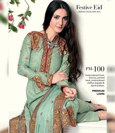 Gul Ahmed Premium Embroidered Chiffon Festive Collection 2015 PM-100
