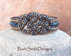 Blue Silver Beaded Leather Wrap Cuff Bracelet - The Sassy Lassie in Sapphire Beaded Leather Wraps, Leather Cuffs, Leather Jewelry, Leather Cord, Beaded Jewelry, Beaded Bracelets, Celtic Bracelet, Bracelet Wrap, Bracelets Bleus