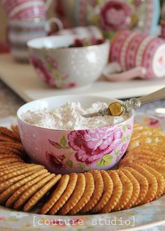 Use a tea cup in the center of a plate for dip, dressing, etc. So pretty for any spring party!