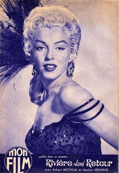 """Mon Film - 1955, magazine from France. Back cover publicity photo of Marilyn Monroe for """"River of No Return"""" by Frank Powolny, 1954."""