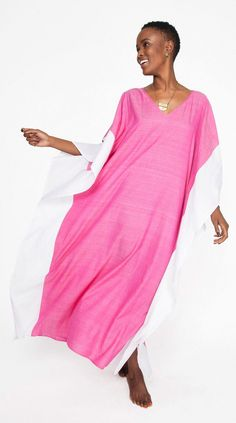 Color Block Pink Caftan made from fabric woven by women artisans in West Bengal, India.