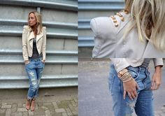 DAMAGED DENIM and the detailed studs on the jacket...LOVE!  (by Ellis In Fashionland) http://lookbook.nu/look/3447865-DAMAGED-DENIM-AT-ELLISINFASHIONLAND