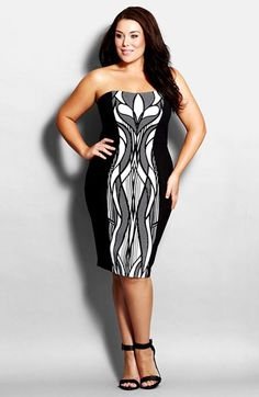 love this print! City Chic 'Mono Art Deco' Strapless Body Con Dress (Plus Size) available at #Nordstrom