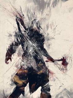 Connor Kenway grunge splatter art
