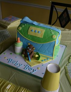 Diaper Bag baby shower cake (Baby Boy) | Flickr - Photo Sharing!