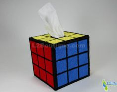 Rubik's Cube Tissue Box Cover as seen on The Big Bang Theory, Solved Edition
