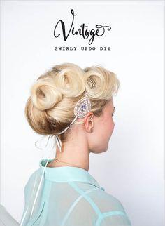 vintage diy updo tutorial #diy #updo #weddingchicks http://www.weddingchicks.com/2014/03/21/swirly-hair-updo/