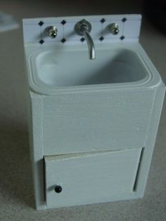 How to make a Laundry Sink -  from balsa, earring oddments and a cheese spread container