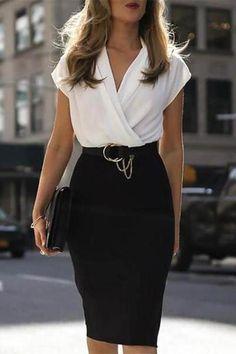 VERYVOGA Wit Casual Elegant Knielengte V-hals Polyester Kleurblok Korte Mouwen Kleurblok (Twee stuks) Bodycon Jurken. Mode Outfits, Office Outfits, Fashion Outfits, Office Wear, Office Attire, Office Chic, Dress Fashion, Stylish Outfits, Woman Outfits