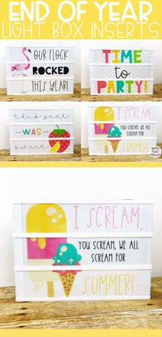 End of year light box inserts for leisure arts light box or Heidi Swapp light box. Fun classroom decor your your room! Light Crafts, Fun Crafts, Classroom Organization, Classroom Decor, Lightbox Art, Class Decoration, Heidi Swapp, End Of Year, Love Notes