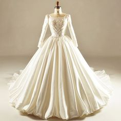 Find More Wedding Dresses Information about Princess Ball Gown Beaded Lace Long Sleeve Wedding Dresses 2017 Long Church Satin Bridal Gowns robe de mariage Custom Made HW115,High Quality dresses lemon,China dress islam Suppliers, Cheap dress cross from Shop1097158 Store on Aliexpress.com