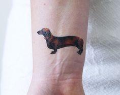Tatouage temporaire petit teckel / chien tatouage temporaire / idée cadeau pour chiens / teckel idée cadeau chien tatouage chien faux tatouage / / dog lover