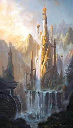 """This image by artist Peter Lee is absolutely beautiful. Entitled """"fantasy Castle"""", it depicts a place that could only exist in one's imagination. I really love the waterfall and the architectural spaces in this surreal image. fantasy Castle by Peter Lee, via DeviantArt: http://peterconcept.deviantart.com/art/fantasy-Castle-251633279?q=gallery%3Apeterconcept%2F693433&qo=0"""