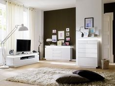 Odessa 5 drawer lowboard TV stand in high gloss white with led - 20201 shop modern & contemporary white high gloss TV stands, TV units, cabinets & wall entertainment. Contemporary Chest Of Drawers, Contemporary Living Room Furniture, Tv Stand With Led Lights, White Led Lights, White Sideboard, Modern Sideboard, Modern Corner Tv Stand, High Gloss Tv Unit, White Tv Unit