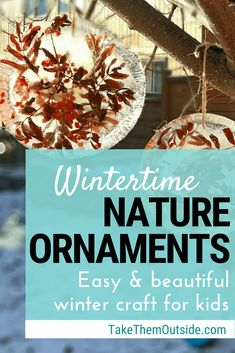 Try these easy winter outdoor activity for kids? These frozen nature ornaments are a fun outdoor craft for kids at home or at school. | #naturecraft #winteractivity #iceornament #suncatcher #frozenornament #outdoorplay