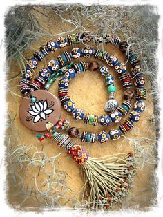 AFRICAN Boho LOTUS necklace Colorful Chunky necklace by GPyoga