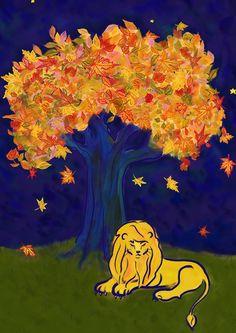 lion en automne