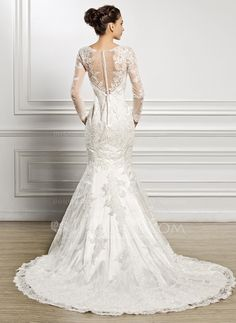 Trumpet/Mermaid Scoop Neck Chapel Train Lace Wedding Dress With Beading Sequins (002057227)
