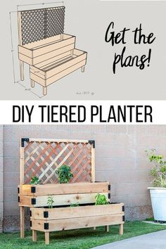 DIY Tiered Raised Garden Bed - Full Tutorial and Plans Love. , DIY Tiered Raised Garden Bed - Full Tutorial and Plans Love this! DIY raised planter garden bed with legs and trellis. So easy to. Raised Planter Beds, Planter Garden, Backyard Planters, Backyard Ideas, Diy Planters Outdoor, Diy Garden Bed, Pallet Planters, Pallet Fence, Planter Ideas