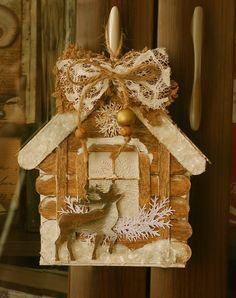 Craft popsicle stick house ideas 60 ideas for 2019 Christmas Makes, Rustic Christmas, Handmade Christmas, Christmas Fun, Diy Christmas Ornaments, Christmas Projects, Christmas Tree Decorations, Holiday Crafts, Diy Popsicle Stick Crafts