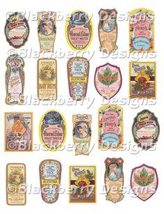 decoupage paper, collage sheets,perfume labels, vintage pink blue