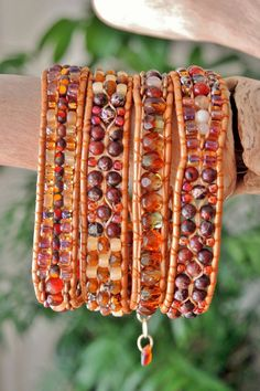 AUTUMN FLAME 4 Wrap Leather Bracelet or BELT w/ Flame Red Jasper & Rich Candies Agate w/Czech and Japanese Miyuki Accents,Brass Clasp Option