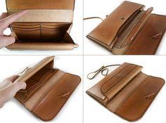 LEATHER WALLET Handmade Long Wallet Biker's Wallet por MannAndCo