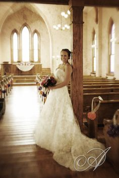 A Bride in the Ohio Village Church before her wedding!  This is a beautiful picture by Jeanne Arkfeld. Columbus Ohio Wedding Venue | Ohio Village Wedding