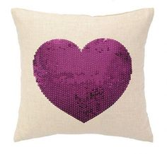 Sequin Fuchsia Heart Pillow from www.twinkletwinklelittleone.com