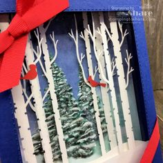 October 2019 Paper Pumpkin Winter Woods alternative project - shadow box created by Kay Kalthoff Diy Craft Projects, Diy Crafts, Wood Shadow Box, Hand Stamped Cards, Glue Dots, Paper Pumpkin, Red Ribbon, Thank You Gifts, 3 D