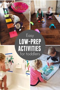 Quick and easy low-prep activities for toddlers! These are great when you're stuck indoors or just need something fun to do with kids! # indoor activities for toddlers Quick & Easy Low-Prep Activities for Toddlers Indoor Activities For Toddlers, Toddler Learning Activities, Infant Activities, Preschool Activities, Rainy Day Kids Activities, Indoor Games For Kids, Fun Activities To Do, Fun Games For Kids, Children Activities