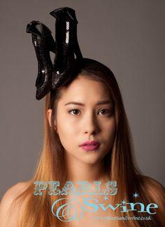 Large black glitter heels headband inspired by Schiaparelli. From Pearls and Swine