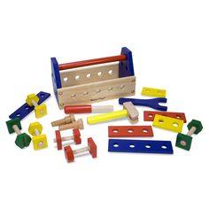 Melissa&Doug Ahşap Takım Çantası: Toplam 24 parça ahşap aletten oluşur. Minik eller çivi çakma, sökme ve vidalamayı öğrenirken eğlenir. Becerikli anne babaların çocukları ile hoş vakit geçirmesini sağlar. Bu üründe toksik olmayan boyalar kullanılmıştır, gerekli Avrupa Birliği ve ABD oyuncak güvenlik standartlarına uygundur. 3+