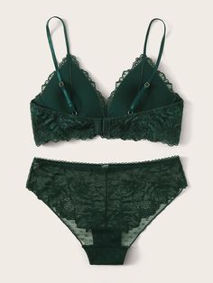 Green Lingerie, Lace Lingerie Set, Sexy Lingerie, Fashion Lingerie, Lingerie Underwear, Sexy Gifts, Bra And Panty Sets, Green Lace, Lace Fabric