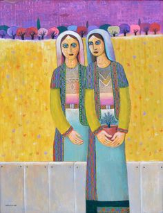 Sisters, 2015 , Painting by Palestinian Artist Nabil Anani, Acrylic on canvas, 133 x 100 cm Fine Art Amerika, Palestine Art, Art Cart, Sisters Art, Folk, Lovers Art, Art Forms, Female Art, Painting & Drawing