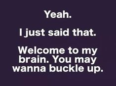 I Just Saïd that. Welcome to my brain. You May wanna buckle up! My Mind Quotes, Great Quotes, Me Quotes, One Liner Jokes, Witty Comebacks, My Brain, Man Humor, How I Feel, Love Words