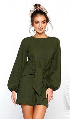 ECOWISH Womens Dresses Casual Long Lantern Sleeve Tie Front Crew Neck Bodycon Mini Dress Green L -- For more information, visit image link. (This is an affiliate link) Casual Dresses For Women, Short Dresses, Fall Dresses, Party Dresses, Long Sleeve Short Dress, Couture, Knit Dress, Dresses With Sleeves, Fashion Outfits