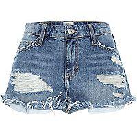Mid wash distressed Ruby denim shorts £30.00 #riverisland