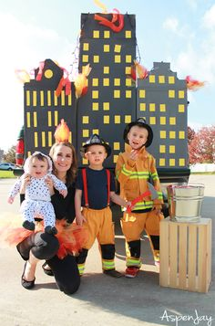 Firefighter Family Costumes for Halloween - Aspen Jay - Toys for years old happy toys Zombie Couple Costume, Sibling Halloween Costumes, Sibling Costume, Themed Halloween Costumes, Baby Girl Halloween, Homemade Halloween Costumes, Family Costumes, Zombie Costumes, Halloween Couples
