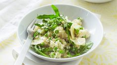 Feeding a family of big eaters is expensive! When I find a meat-free meal they enjoy, it helps the weekly budget. This risotto is the kind of dish that can be made if there are the very barest of essentials in the cupboard. It has light flavours to match the season. I do have to pay attention to the pot, but only for half an hour, so it's no drama.