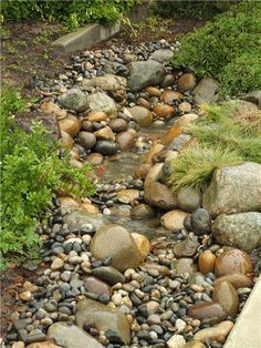 Like the open little pools dotted throughout the center, separated by little rock bars ...and the naturalistic jumble of rounded cobbles with tufted grasses along the bank. Try creating these pools in a dry creekbed with smaller pebbles...