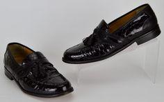 Johnston Murphy Men's Size 8.5 M Black Patent Leather Croc Tasseled Loafers #JohnstonMurphy #LoafersSlipOns