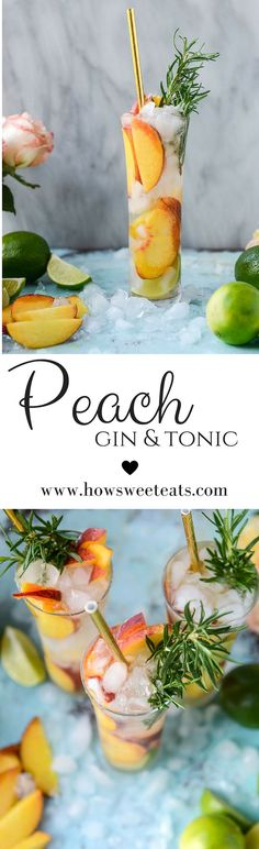 peach gin and tonic by @howsweeteats  I howsweeteats.com